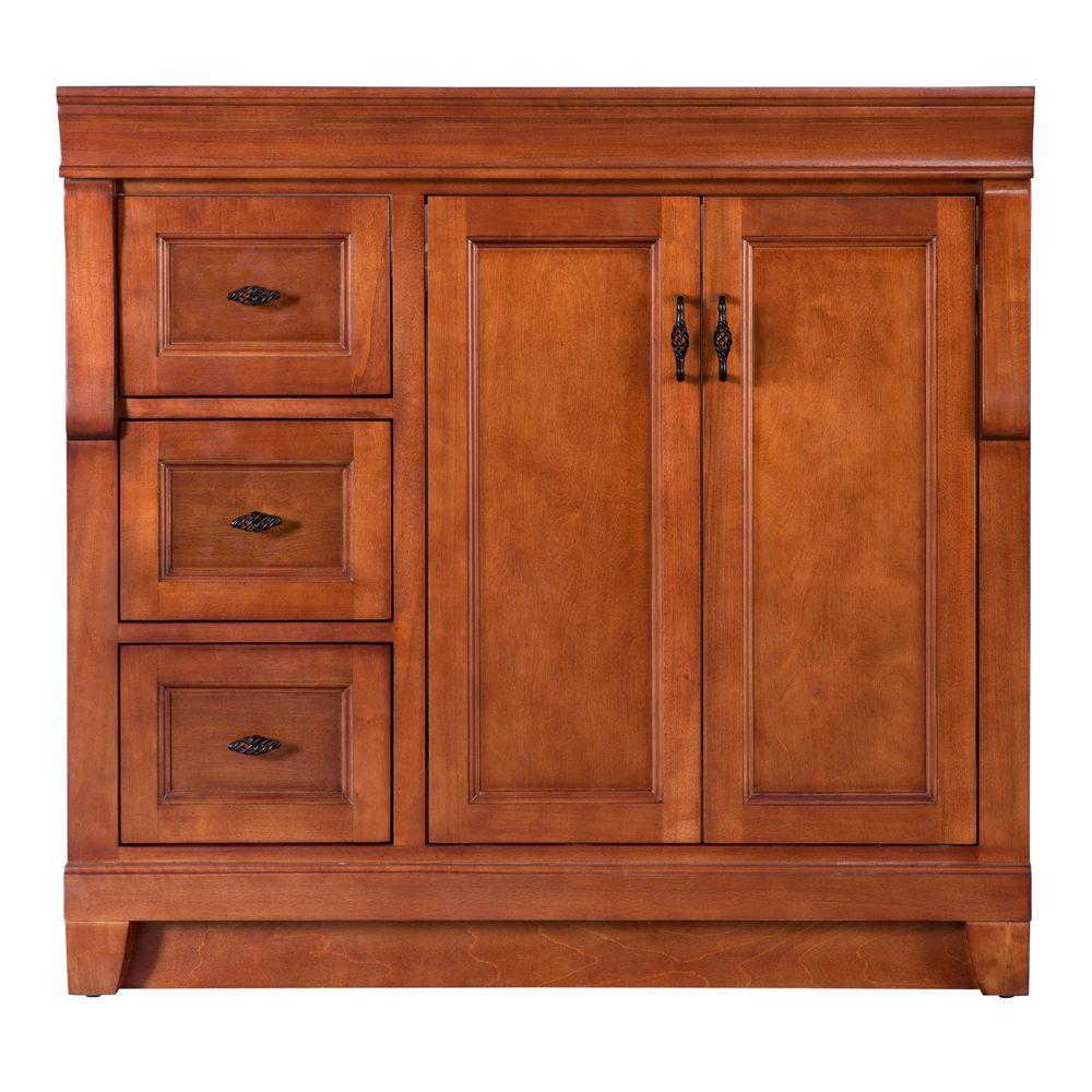Home Decorators Collection Naples 36 In W Bath Vanity Cabinet Only In Warm Cinnamon With Left Han Vanity Cabinet Home Decorators Collection Marble Vanity Tops