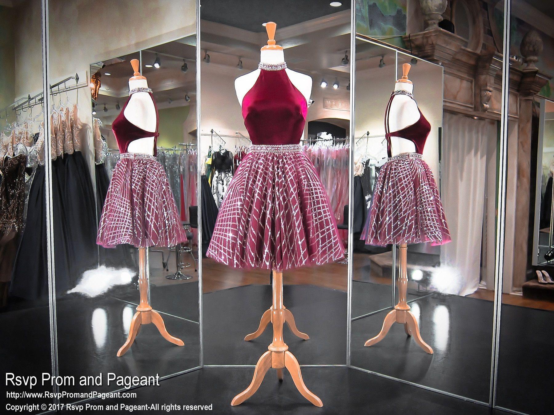 Burgundy high neck velvet beaded short homecoming dress products