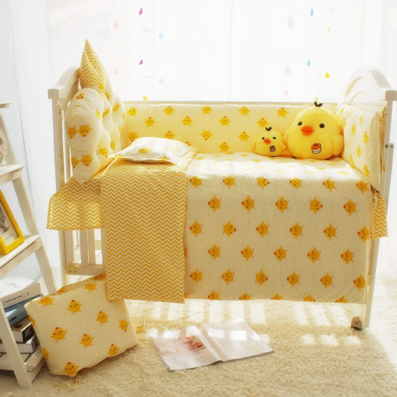 Cute Yellow Chicken Cartoon Designer Baby Boy Bedding Cribs Set, Baby Bed  Linen Cot Set, 4 To 10 Pcs Baby Crib Bedding Set