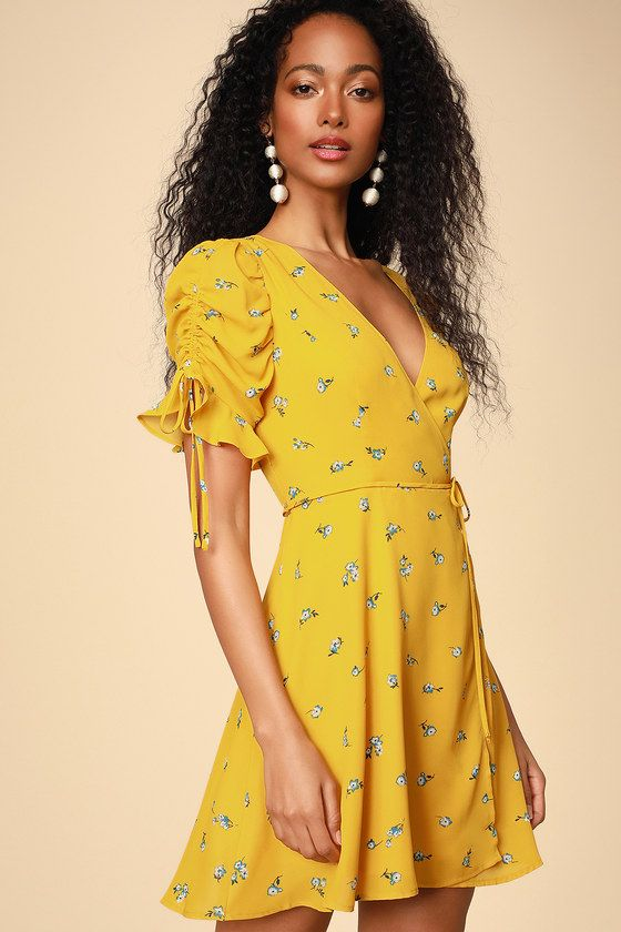 f7c5615cf0eae5 Lulus | Floral Fantasy Yellow Floral Print Ruffled Wrap Dress | Size  X-Large