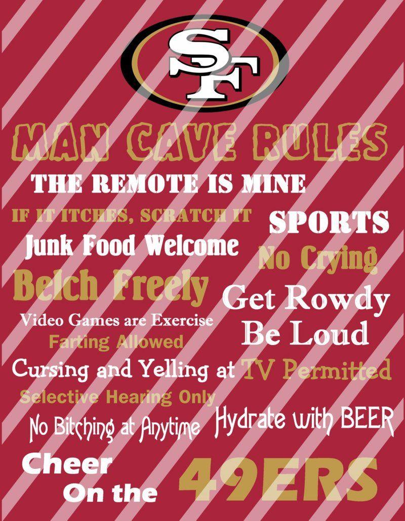 San Francisco 49ers Man Cave Rules Wall Decor Sign (digital or photo print)