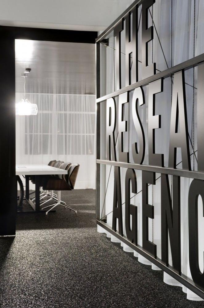 Black Steel Words Office Interior Design Office Design Corporate Interiors