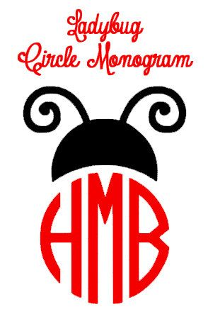 Childrens ladybug vinyl decal stickers at haleigh michelle vinyl on etsy ladybug monogram decal