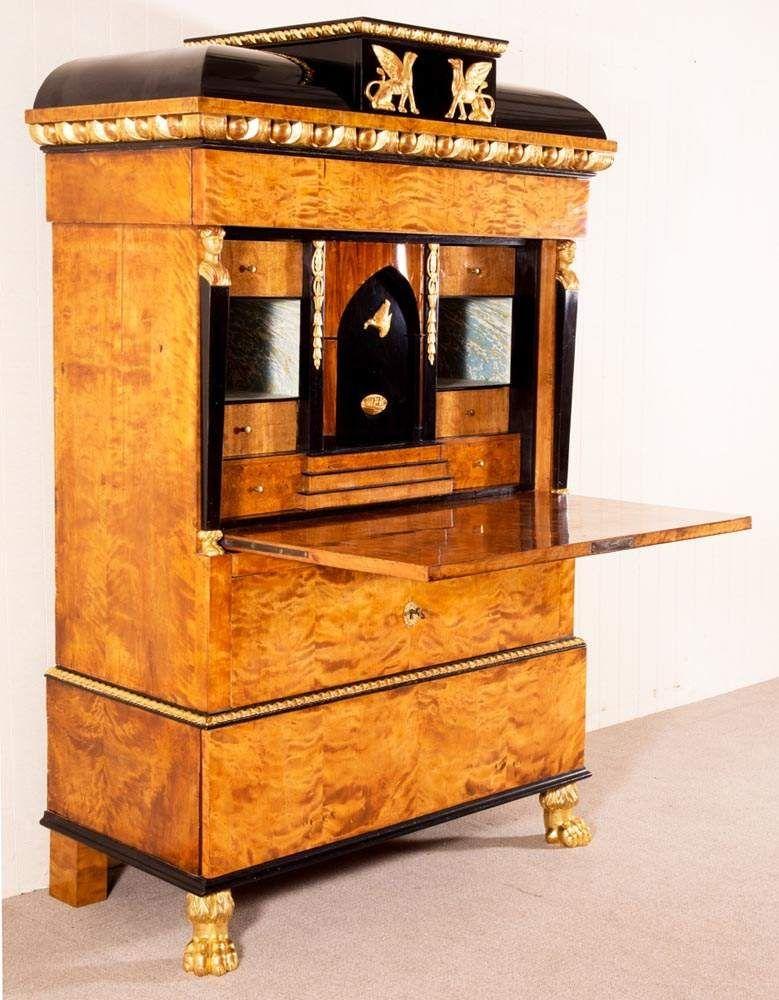 prachtvoller empire sekret r wien oder prag um 1800 20 ausgesuchtes birkenwurzelholz auf. Black Bedroom Furniture Sets. Home Design Ideas