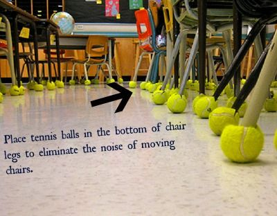 Tennis Balls Provide A Soft Easy Way To Solve Classroom Chair