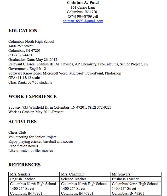 Cashier Resume Examples Chintan A Patel  Carrie Lane Columbus