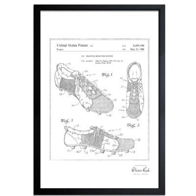 Trent Austin Design Training Shoe for Soccer 1980 Framed Memorabilia in Silver Frame Color: Black