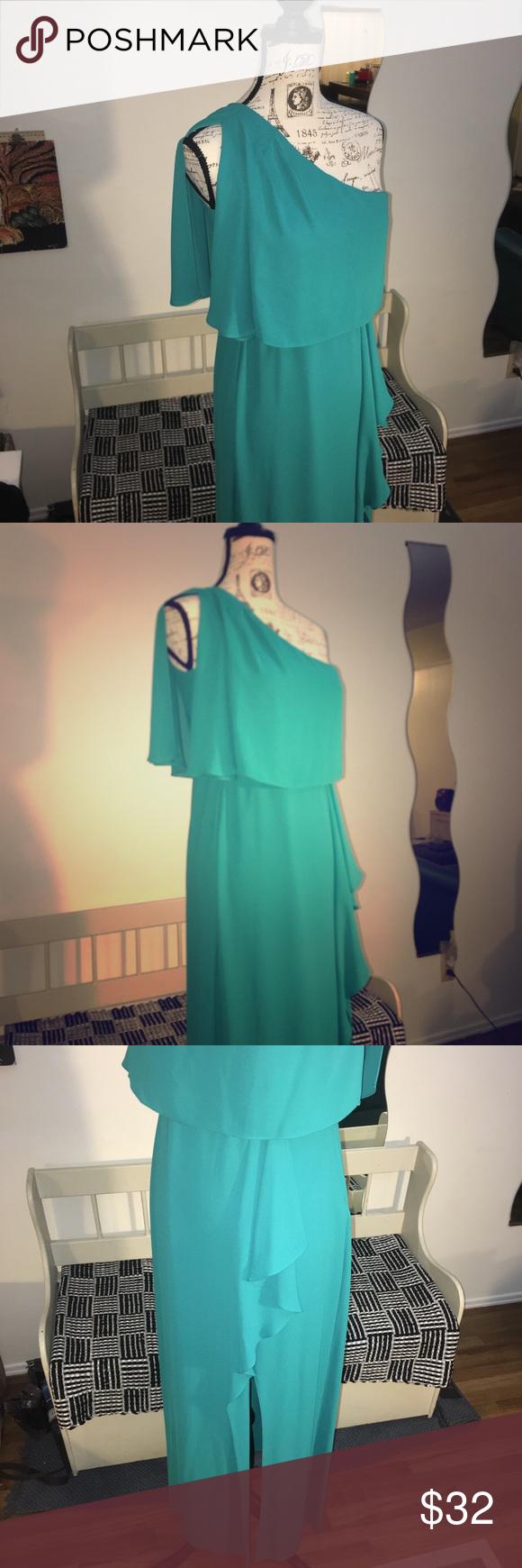 BCBG maxazria Teal one shoulder maxi Dress