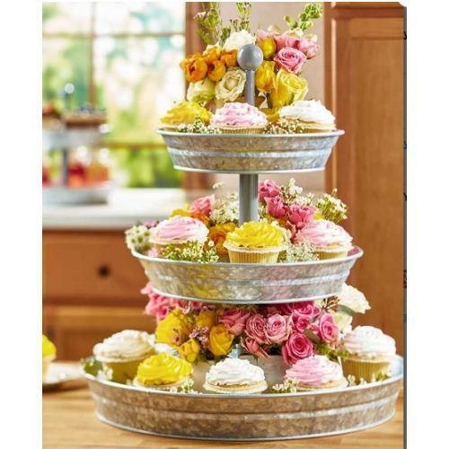 Party Serving Trays And Platters Cupcake Tower 3 Tier Galvanized Buffet Server Tray Decor 3 Tier Serving Tray Country Picnic