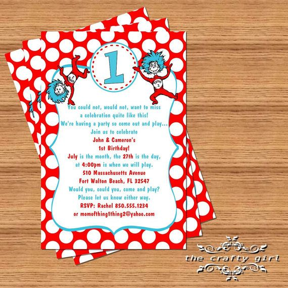 Thing 1 2 Birthday Party Invitations By TheCraftyGirl2011 1000