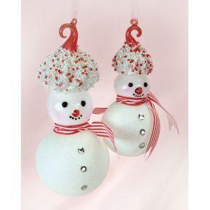 Snowmen with Meringue Hats Christmas Ornaments Item #49842  Feature...