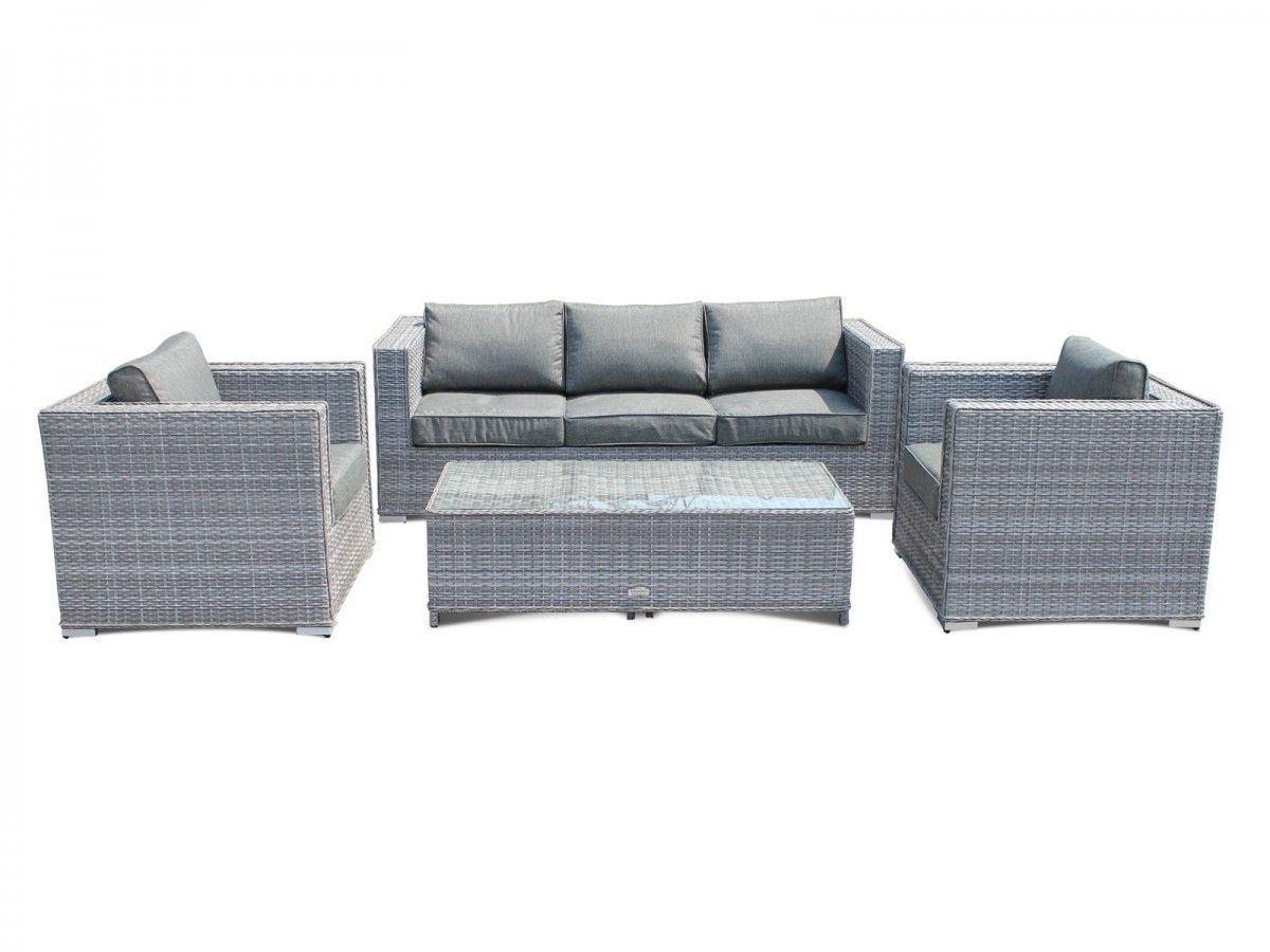 Ascot 3 Seater Rattan Garden Sofa Set In Grey