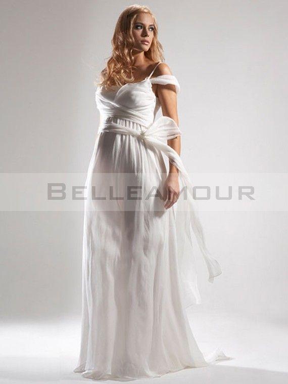 b9eb475559c Robe de Mariée Enceinte Blanche Longue Plis Mousseline Simple Plage ...