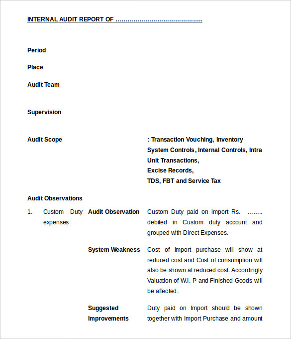 Audit Findings Report Template 4 Professional Templates