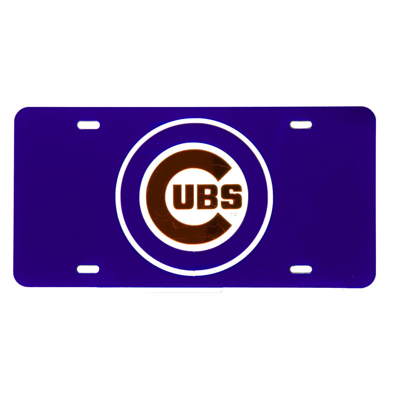 Chicago Cubs Full-Color Bullseye Logo Reflective Novelty License ...