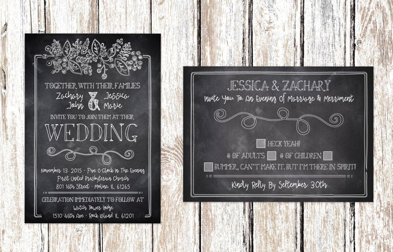Chalkboard Wedding Invitation Rsvp Printable Chalkboard Wedding Invitations Chalkboard Wedding Wedding Invitations Rsvp