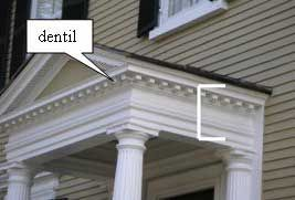 Portico Entablature With Dentils Under The Cornice On A