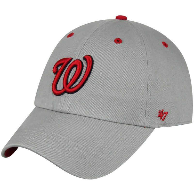 61f9d000 Washington Nationals '47 Crestone Clean Up Adjustable Hat- Gray ...