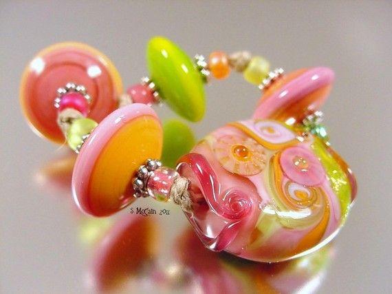 Rainbow Sherbet Twist-handmade lampwork glass by AvasBeadGarden