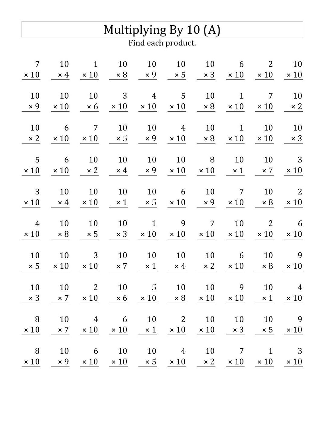 10 Times Table Worksheet Printable