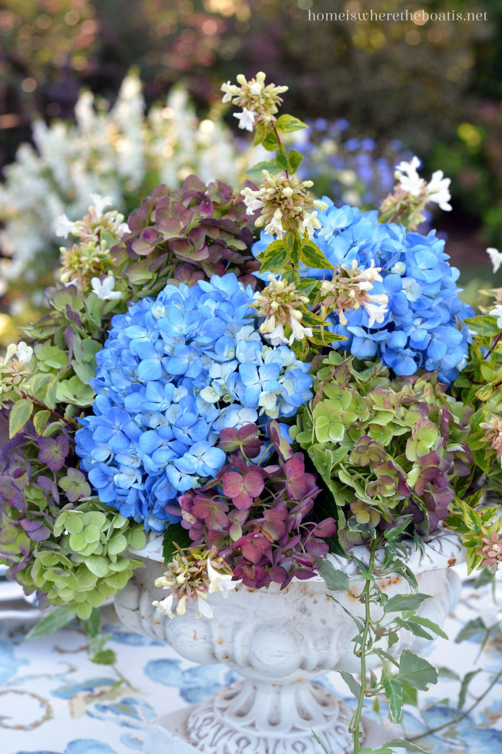 At the table summers last hurrah with hydrangeas and