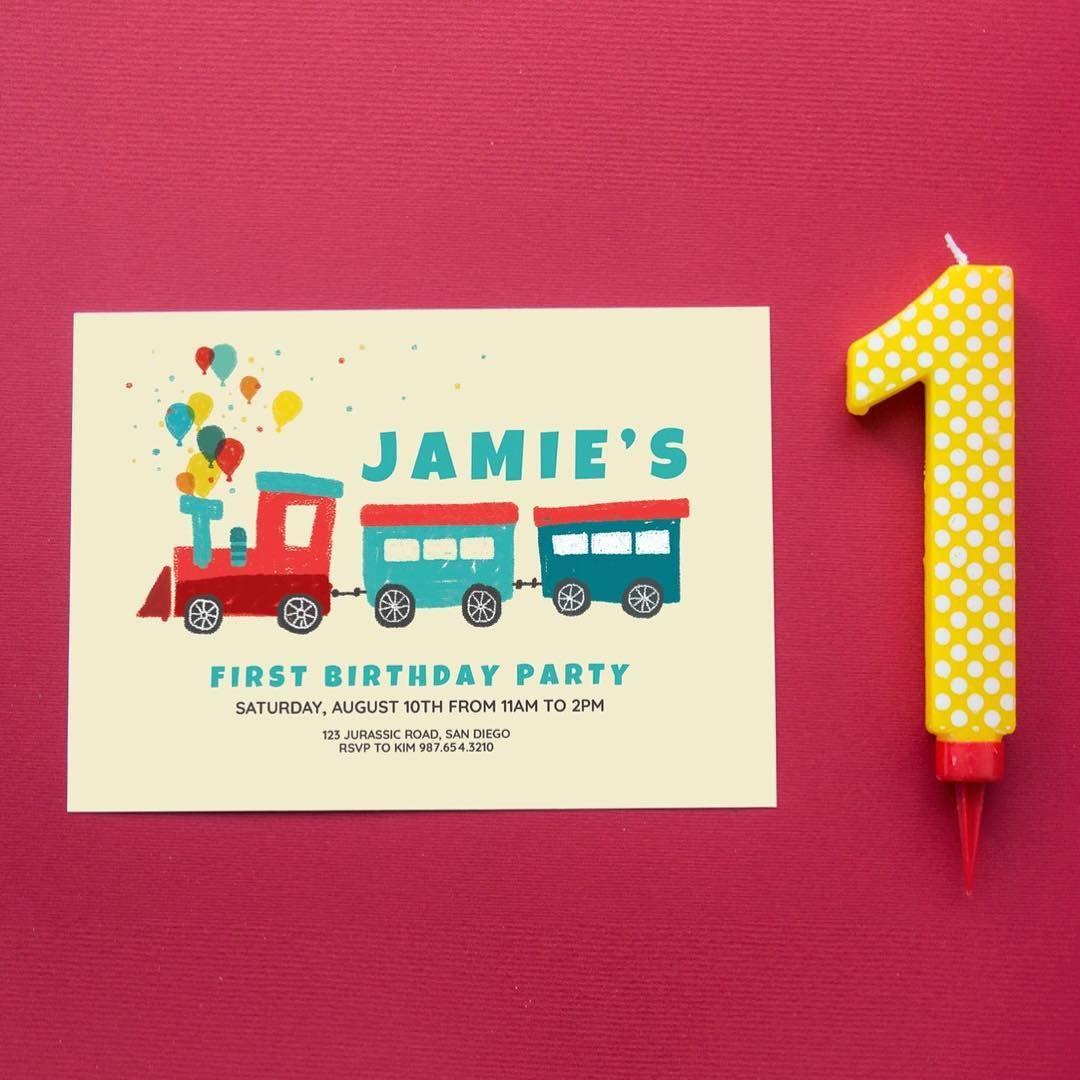 Choo choo Train theme Birthday invitation. design and photo by ...