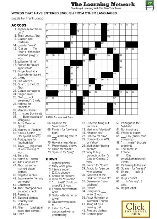 Crossword Puzzle: Words That Have Entered English From