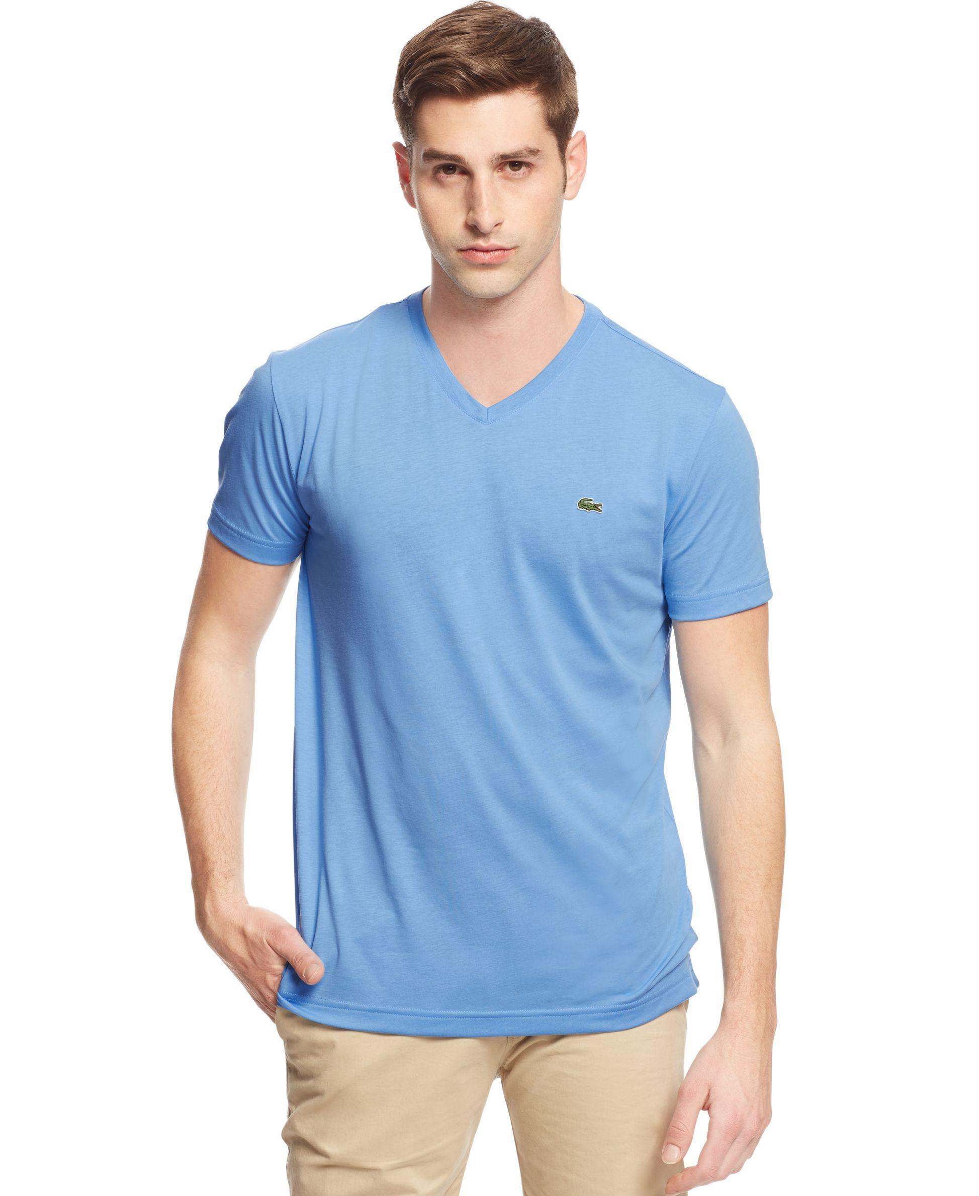 25472c4848 Lacoste Mens Short Sleeve Jersey Pima V Neck T Shirt