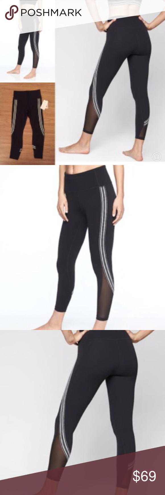 d13977bcf1f15 Athleta Side Stripe Salutation 7/8 Tight PowerVita fabric Wicking,  Breathable Fitted, High
