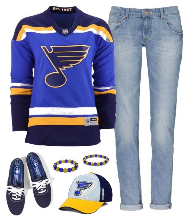 St Louis Blues Game Day by carriefdix on Polyvore featuring Reebok, Keds and Team Colors By Carrie.