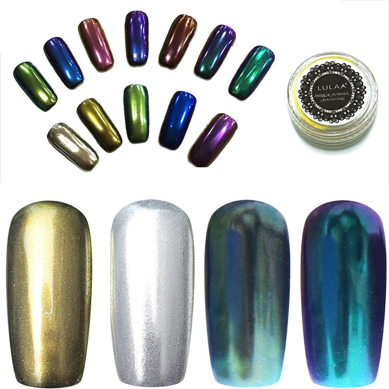 14 Gel de Color de Esmalte de Uñas Glitter silver mirror chrome ...