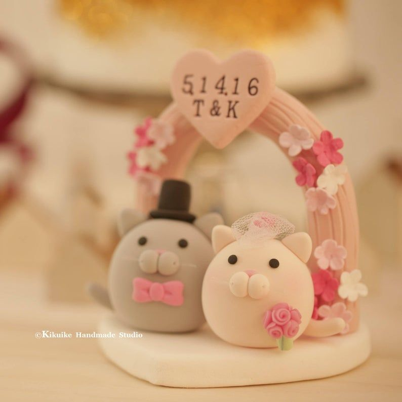 Kitty and Cat wedding cake topper | Etsy
