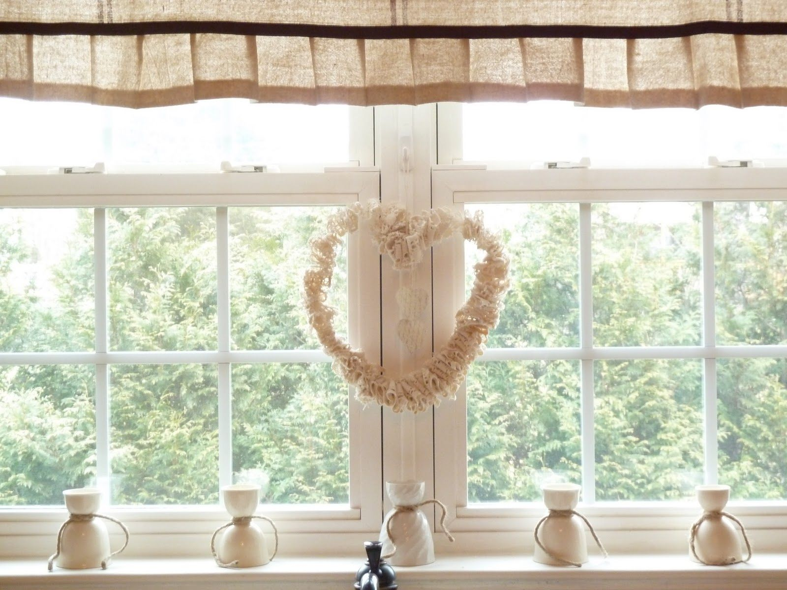 Kitchen window treatments  doily heart shaped wreath for kitchen window uc  windows