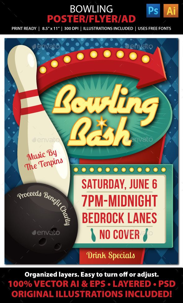 Bowling Event Poster Flyer Or Ad  Bowling Party Retro Posters