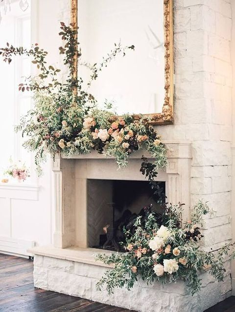 50 Wedding Fireplace Decor Ideas is part of Wedding fireplace - A fireplace is a cool thing for any wedding, and you can use it in various ways  First of all, it's a great backdrop or altar, especially if you have