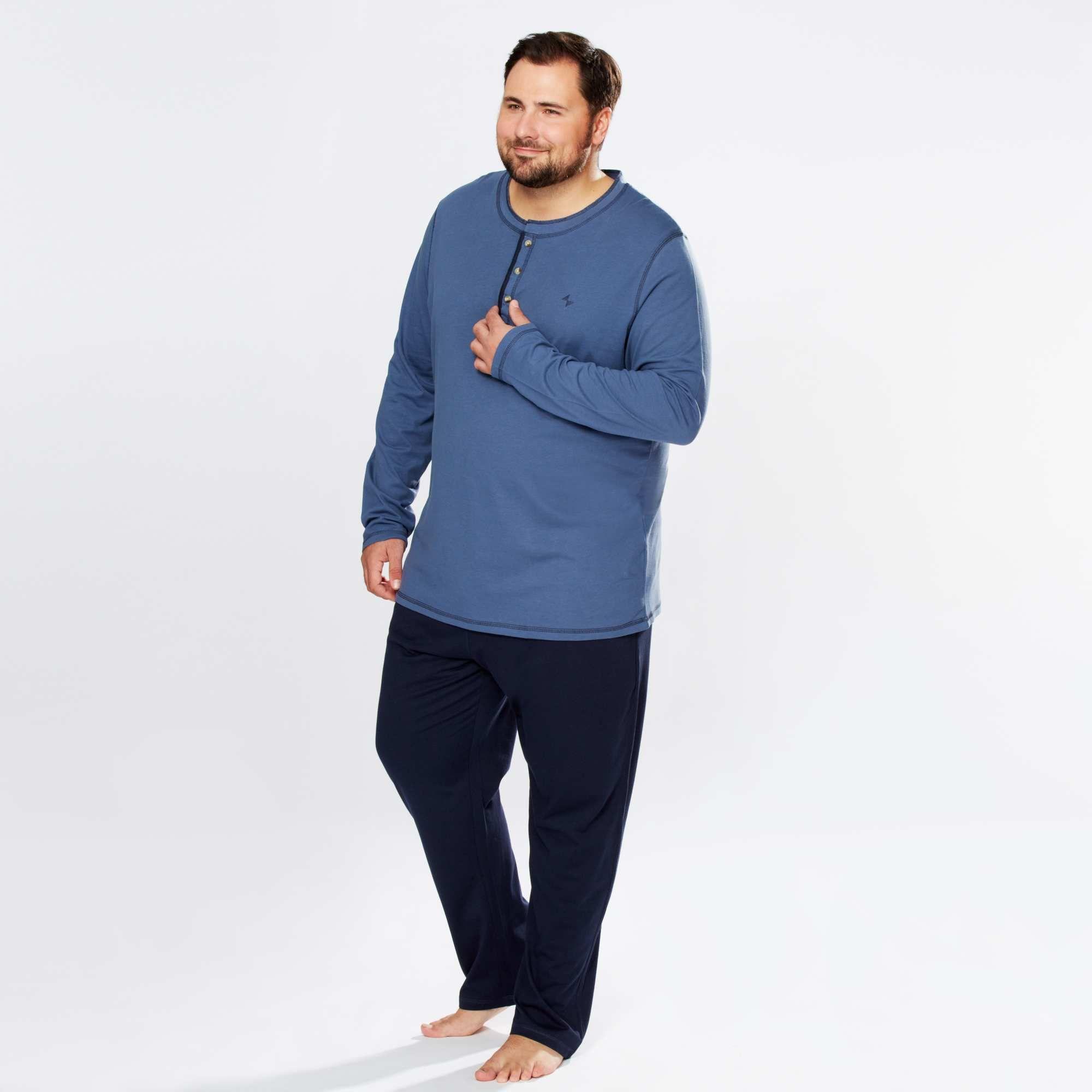 Pyjama Long Bicolore En Jersey Grande Taille Homme Kiabi