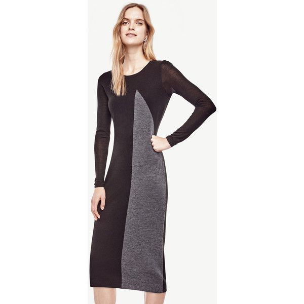 Ann Taylor Petite Colorblocked Midi Sweater Dress 130 Liked On