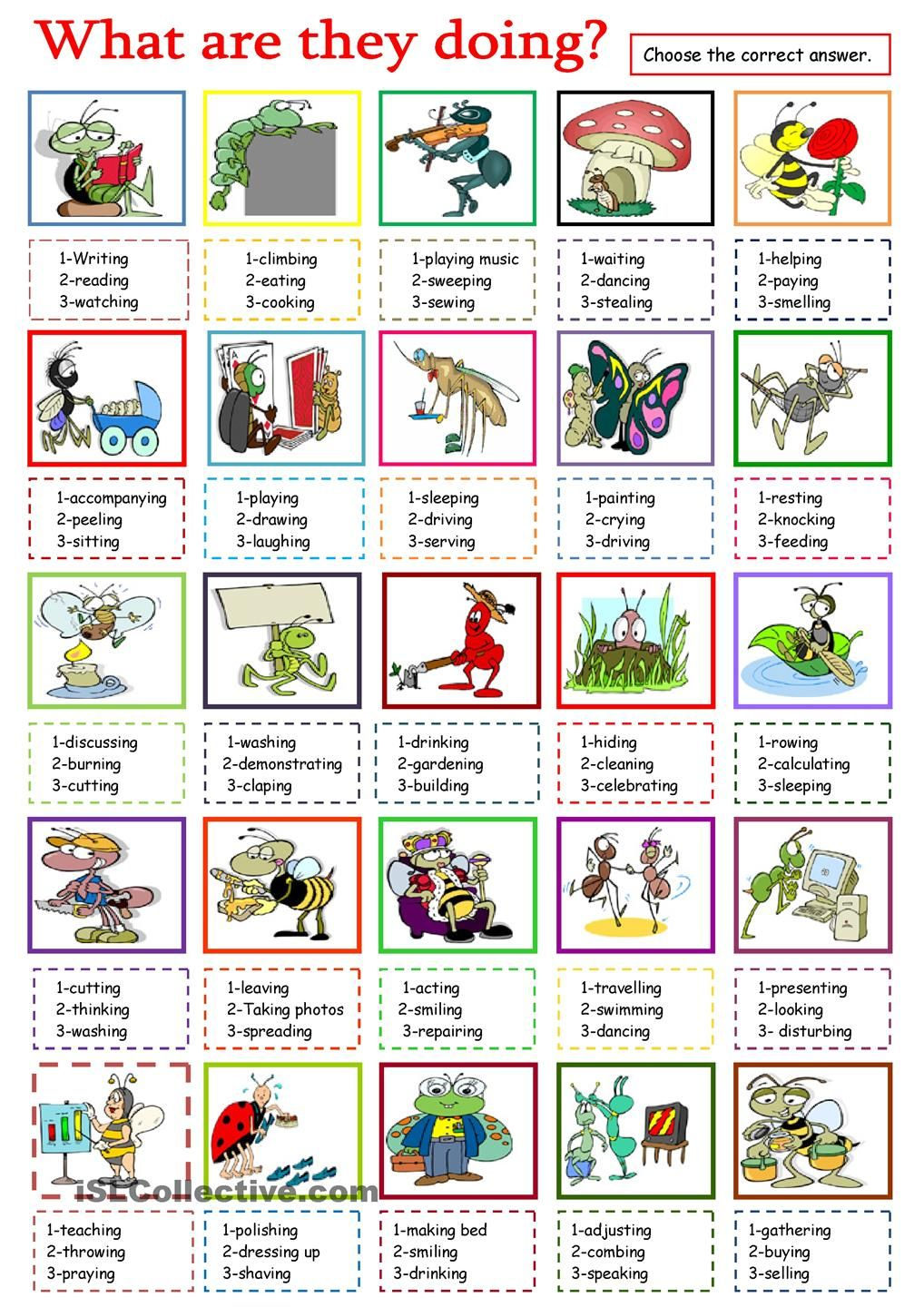 What are they doing?   english worksheets for kids   Pinterest ...
