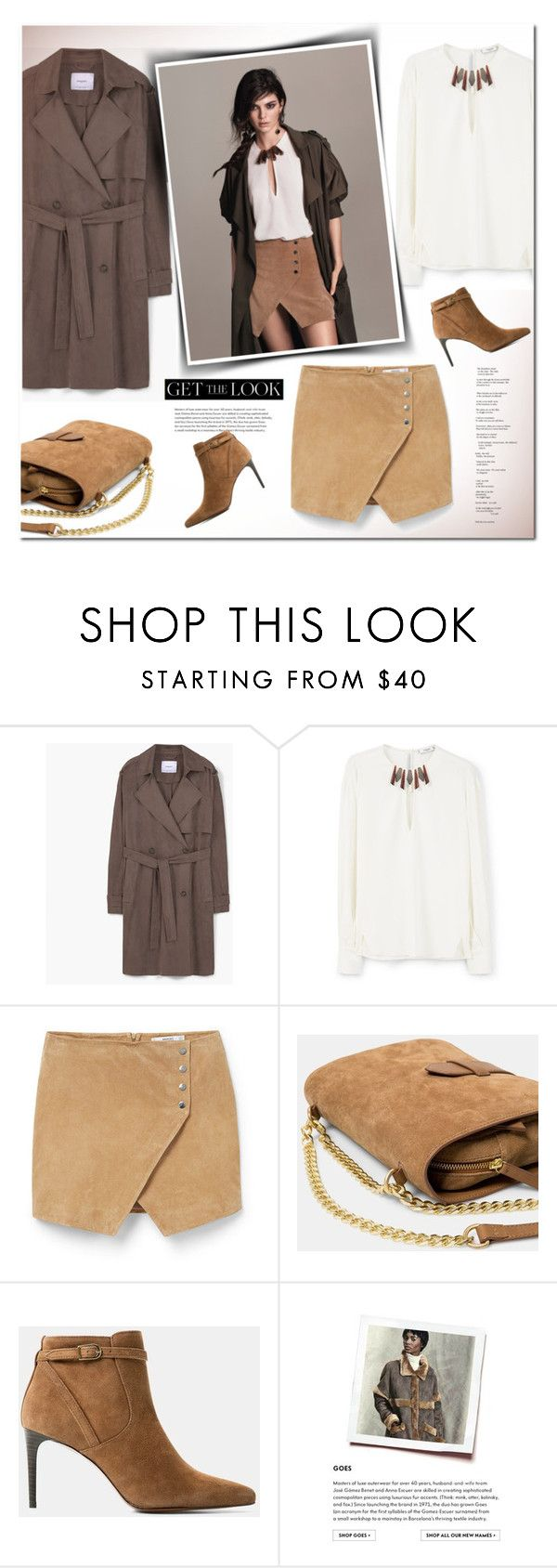 """""""get the look - jenner for mango"""" by drn57 ❤ liked on Polyvore featuring MANGO, women's clothing, women, female, woman, misses, juniors, mango, suede and trenchcoat"""