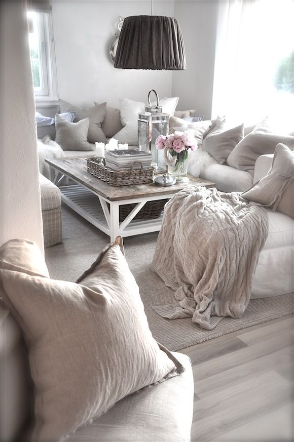 Weiß Beige Grau Rosa Mein Zuhause Chic Wohnzimmer Shabby