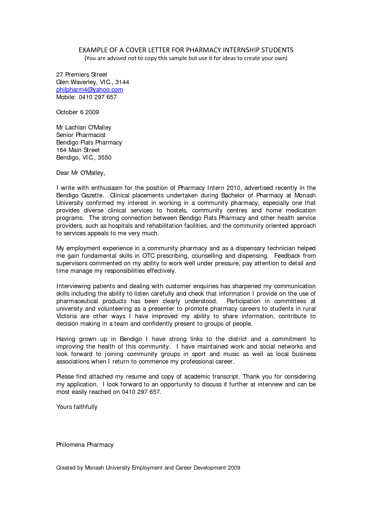 excellent cover letter Cover letter for internship