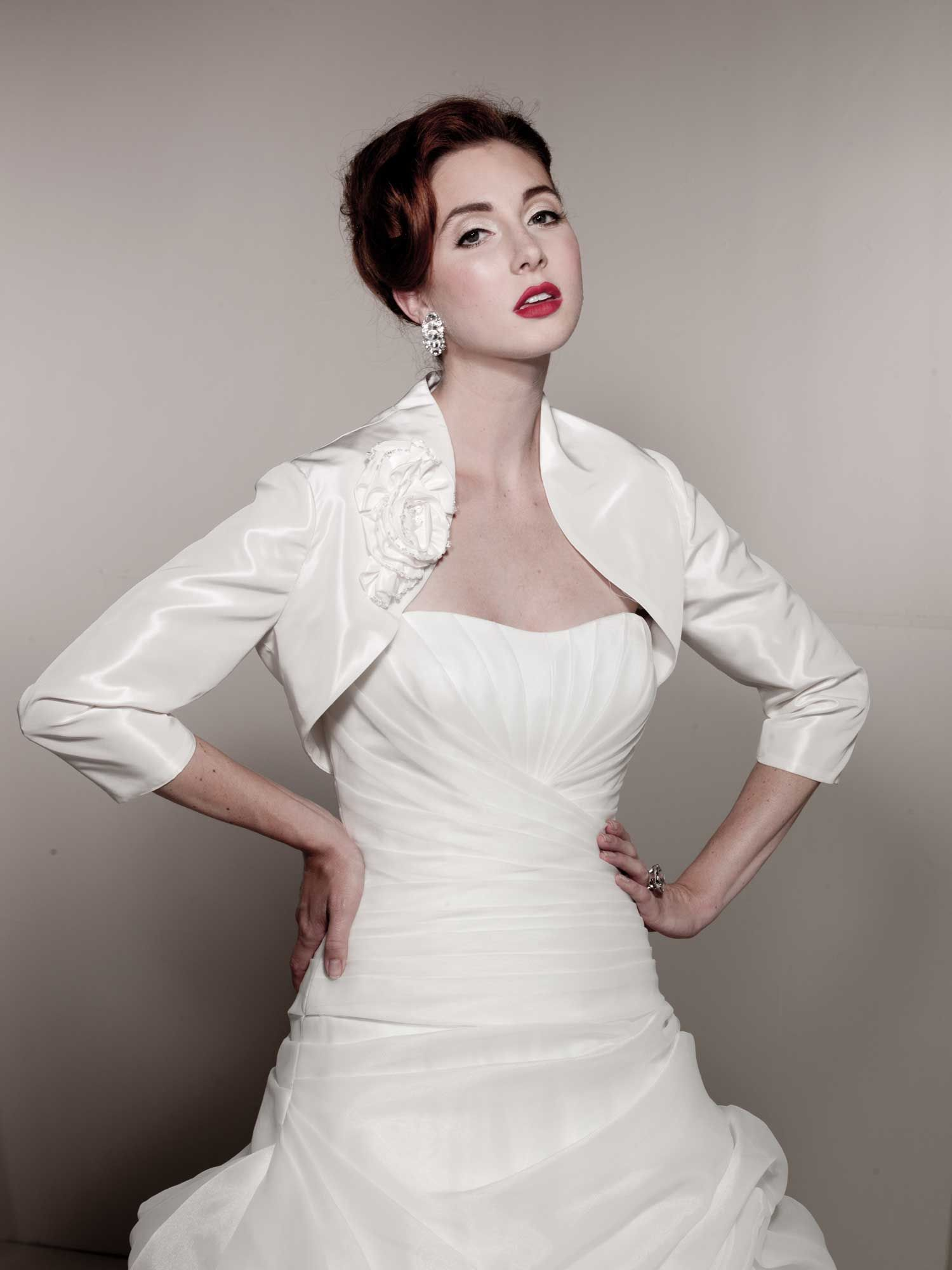 Dress with jacket for wedding  Fashionable length sleeve taffeta jacket  accessories