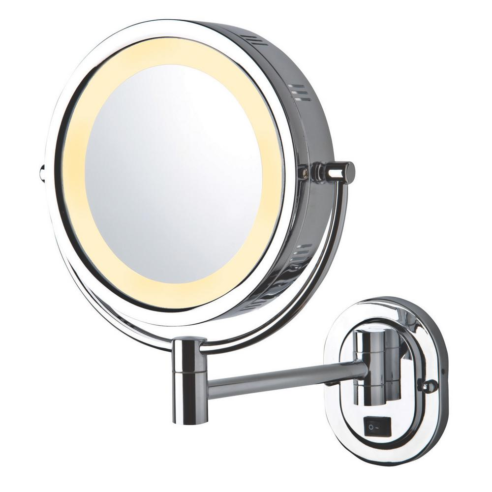 Jerdon 14 In X 12 75 In Lighted Wall Mirror In Chrome Grey Wall Mounted Makeup Mirror Wall Mounted Mirror Lighted Wall Mirror