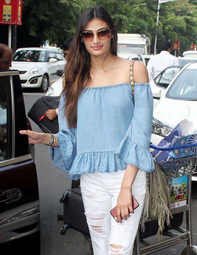 Athiya Shetty at Mumbai airport. #Bollywood #Fashion #Style #Beauty #Hot