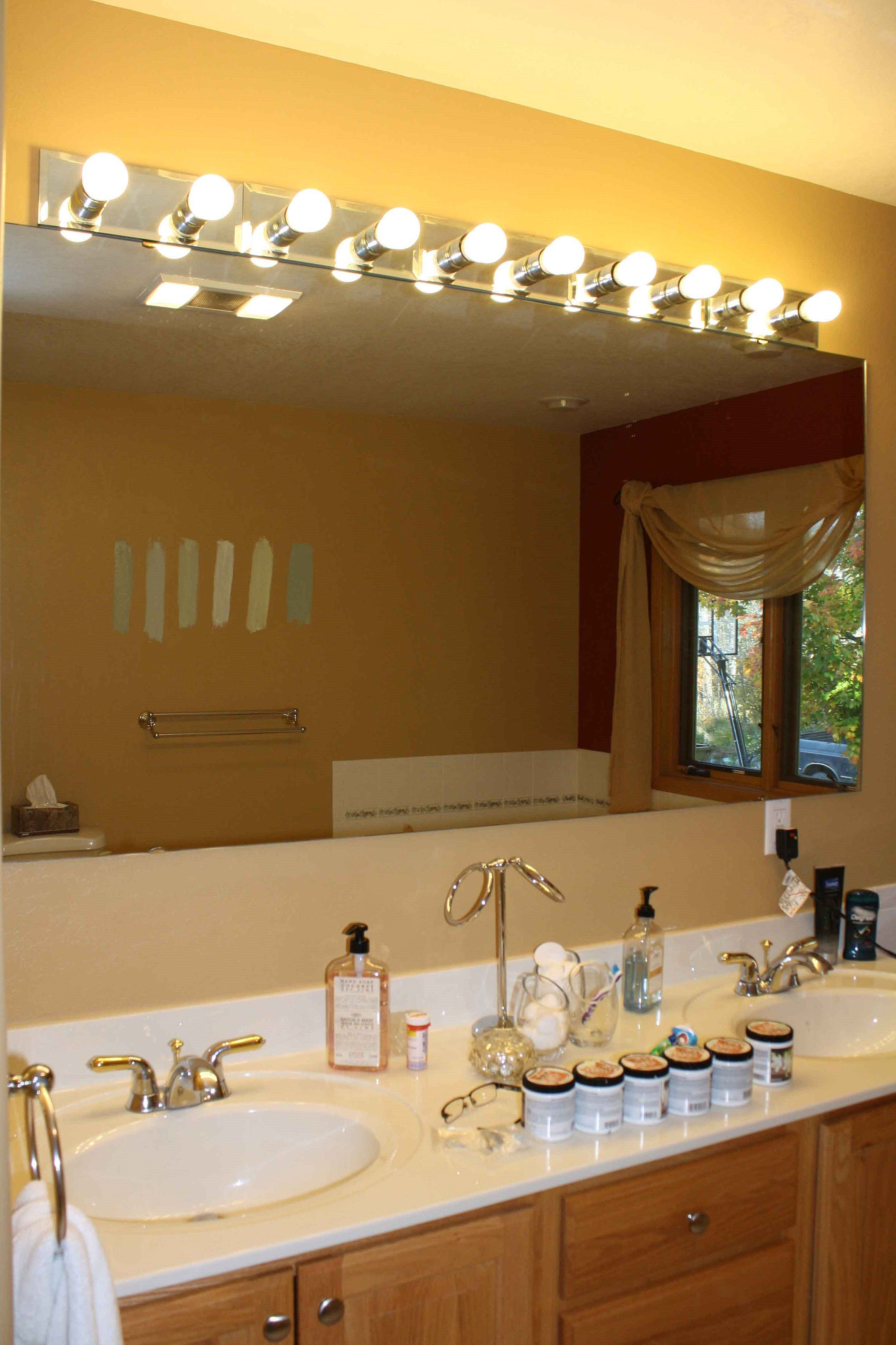 Diy Bathrom Lighting Fixtures With Large Mirror Design Kbhomes