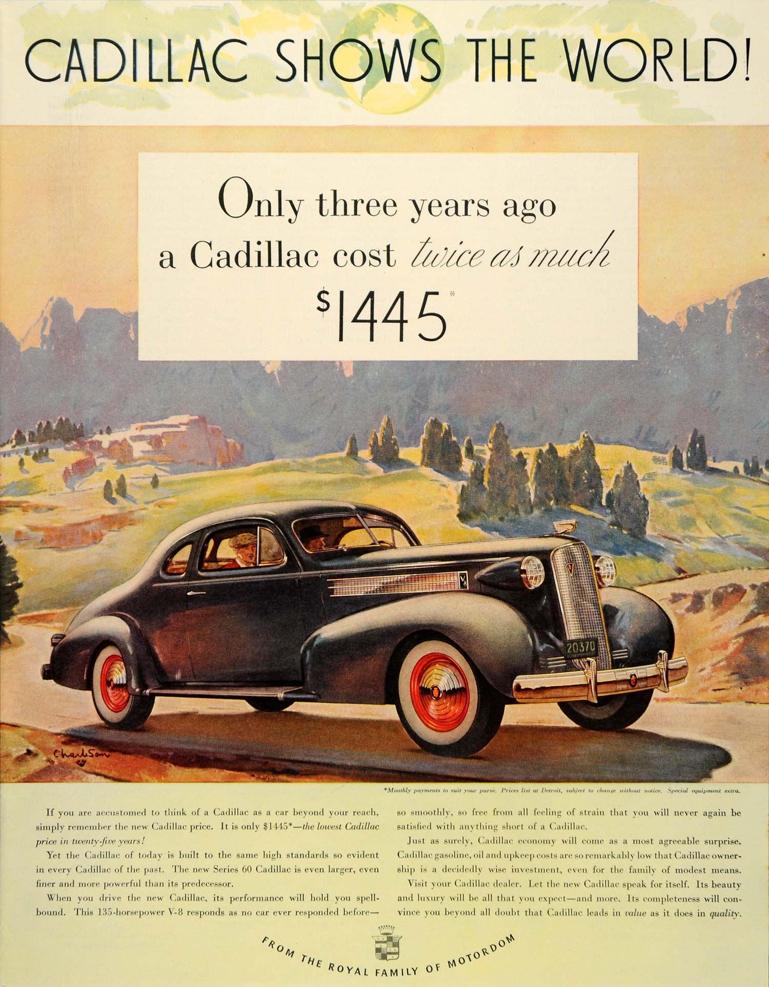 1936 Ad Cadillac Pricing Black Car Series 60 Horsepower - ORIGINAL ...
