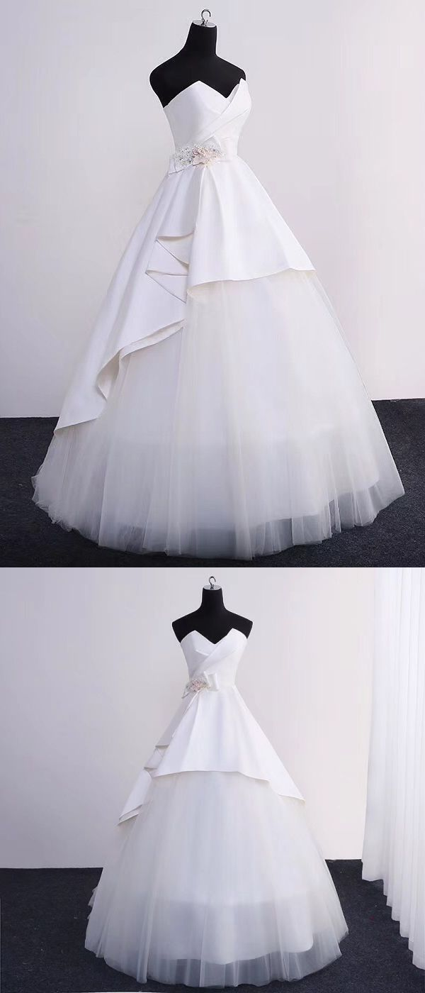 Ball gown wedding dresses sweetheart floorlength ivory tulle simple