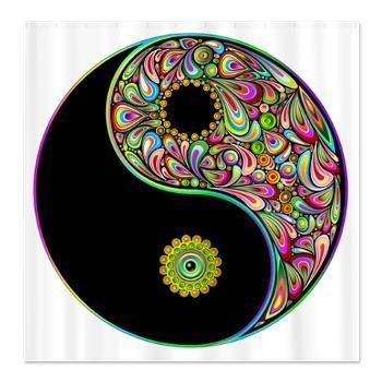 New Design On Cafepress Yin Yang Symbol Psychedelic Colors Shower Curtain Http Www Cafepress Com Bluedarkartgif Yin Yang Art Yin Yang Ying Yang