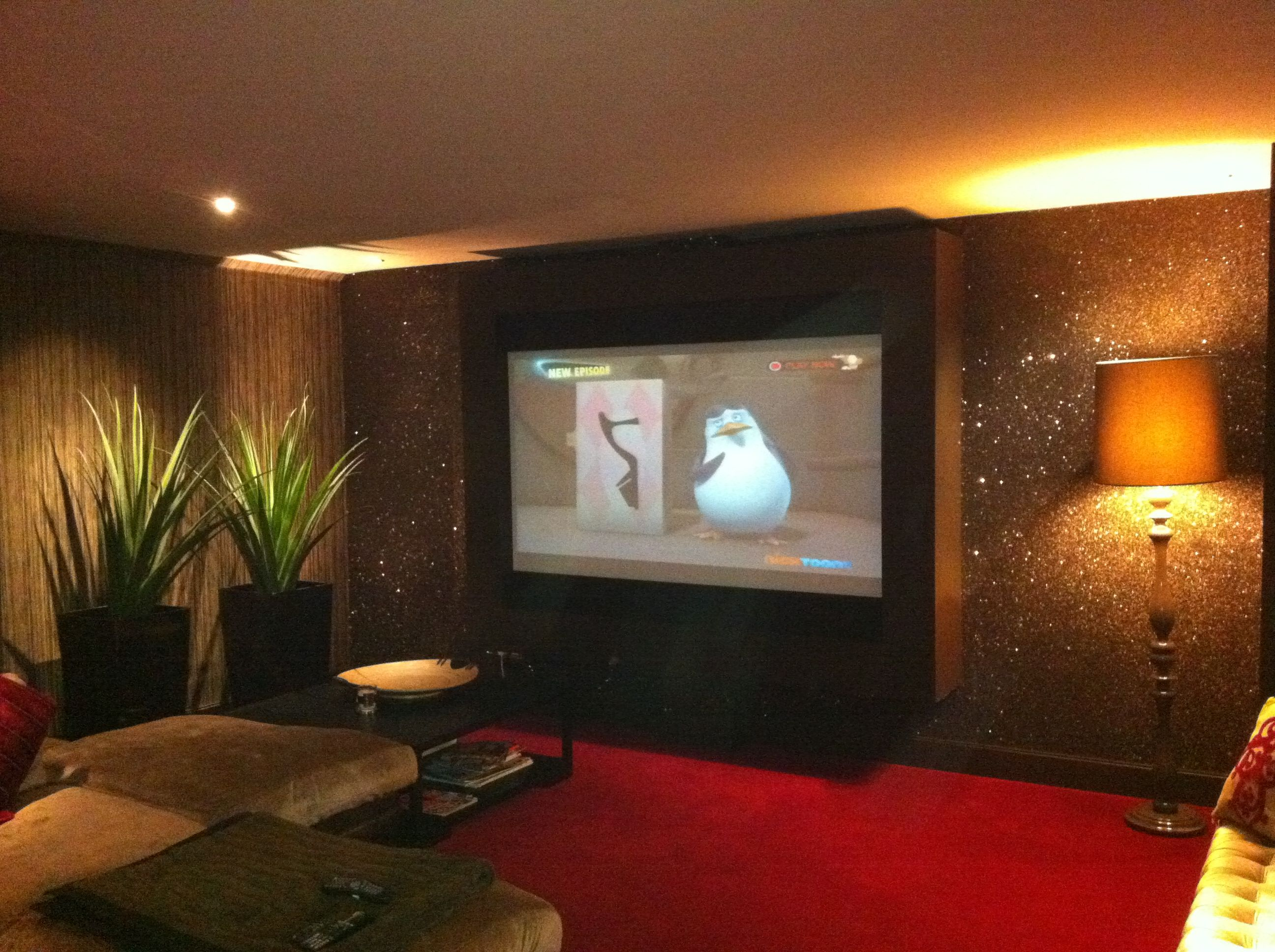 Glitter wallpaper in Home Cinema room | cinema room | Pinterest