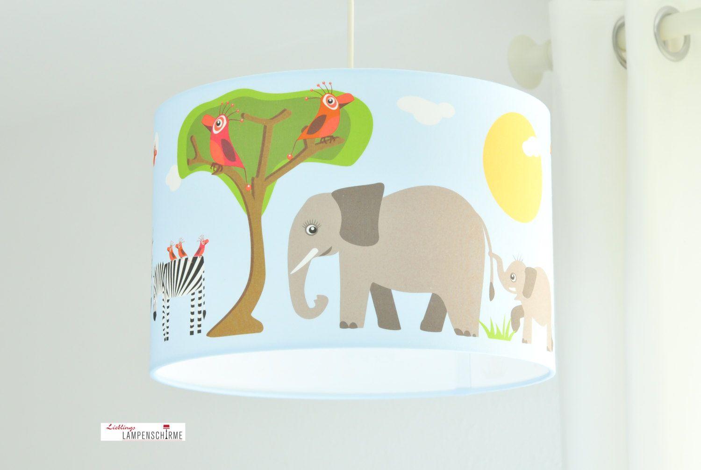 Deckenlampe Kinderzimmer Safari Tiere in Hellblau aus